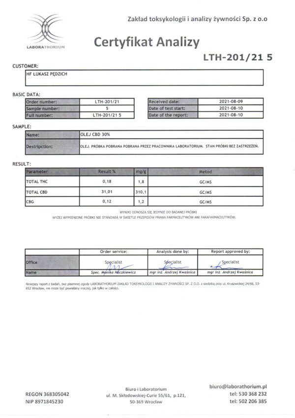 Olej CBD 30% 3000mg Konopny 10ml Cannabol